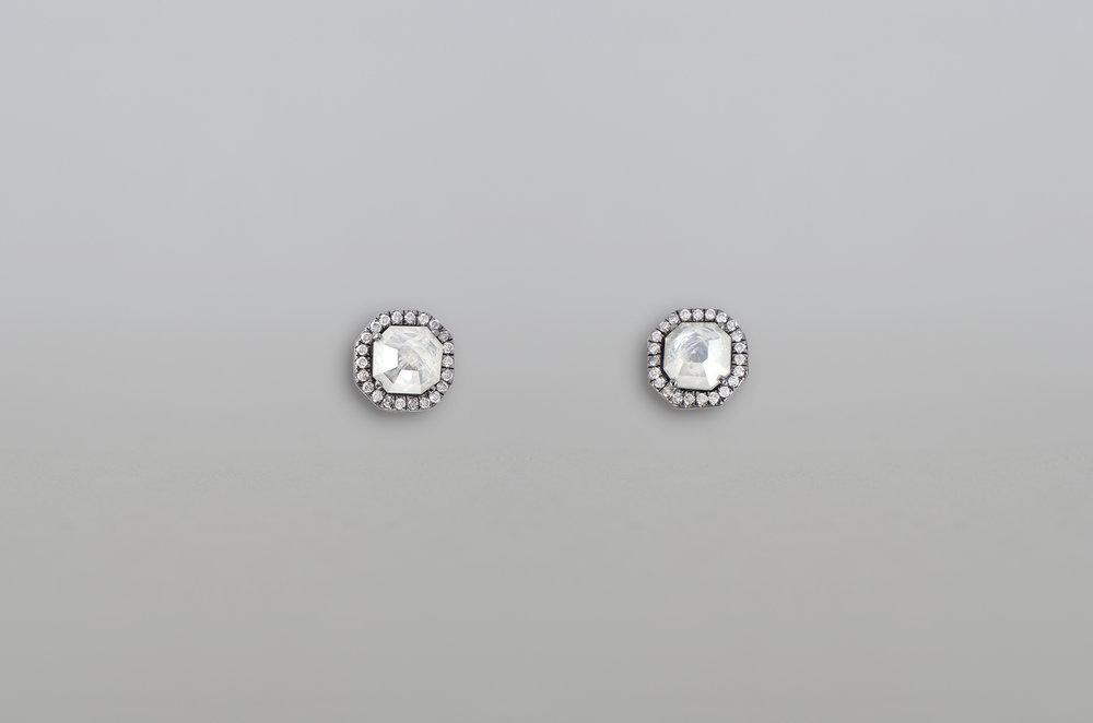 2.15 Carat Rough Diamond Stud Earrings set in 18kt White Gold