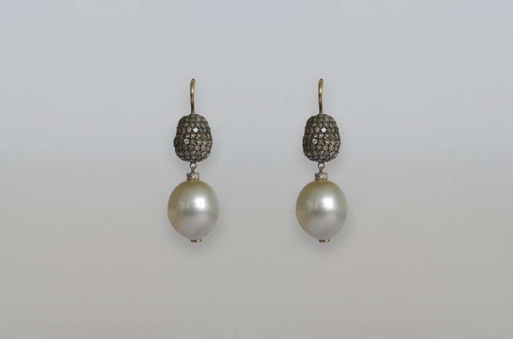 South Sea Pearl with Pave Diamond Bead Drop Earrings set in 18kt White Gold and Sterling