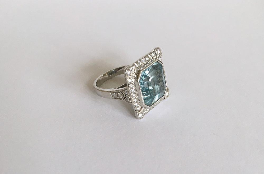 Aquamarine in Modern Deco Diamond and Platinum Setting