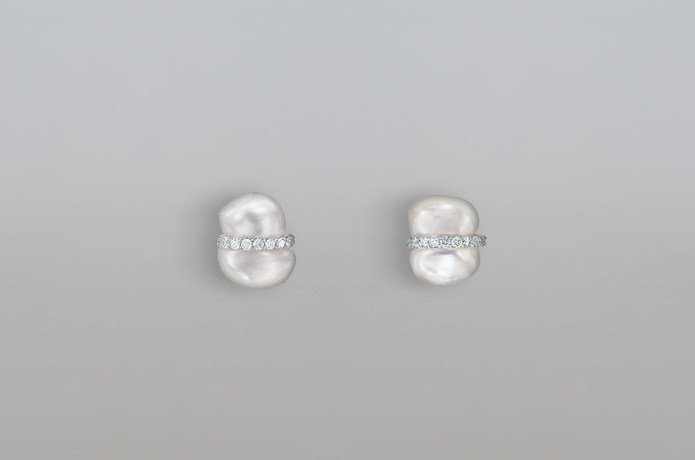 Fresh Water Pearl with .54 Carat Diamond Earring set in 14kt White Gold