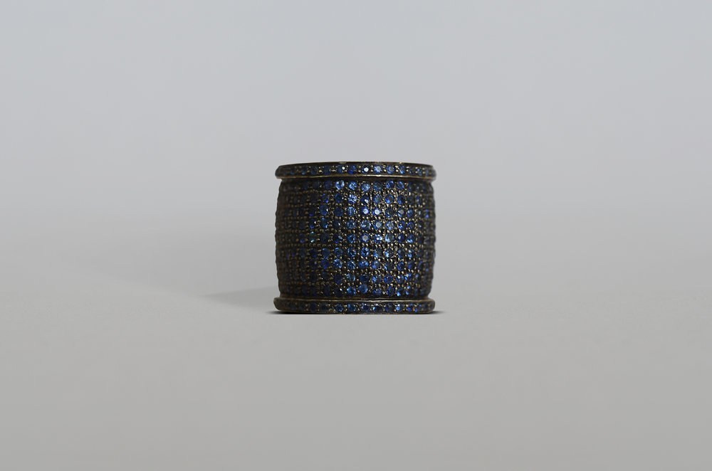 8.43 Carat Sapphire Cigar Band set in Sterling Silver with 18kt Gold