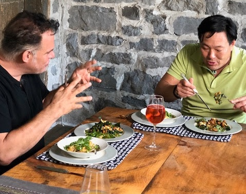 """Hanging at  7 miles To Kingston  with Ming Tsai after shooting the Hudson Valley episode of  Simply Ming ."" – Ric Orlando"