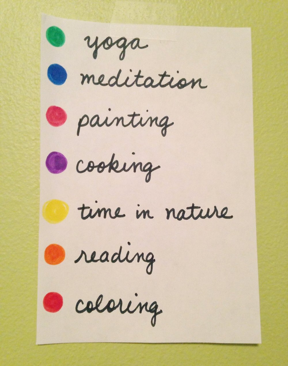 Color-coded self-care activity chart