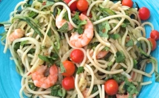 Spicy Shrimp Cucumber Noodles