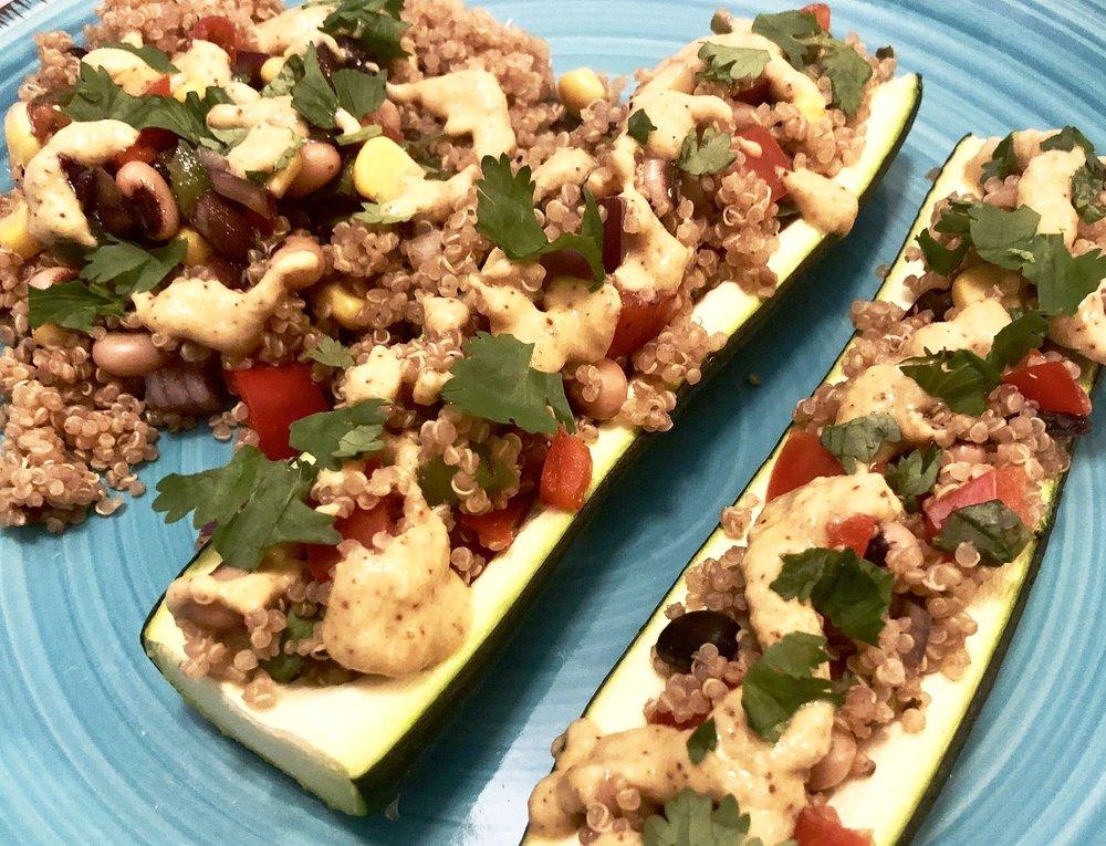 Mexican Quinoa Stuffed Zucchini Photo credit: Alyssa DelSoldato