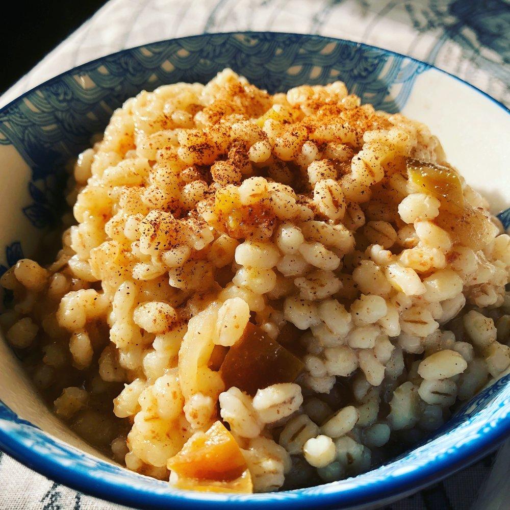 Apple Pie Breakfast Barley Photo credit: Alyssa DelSoldato