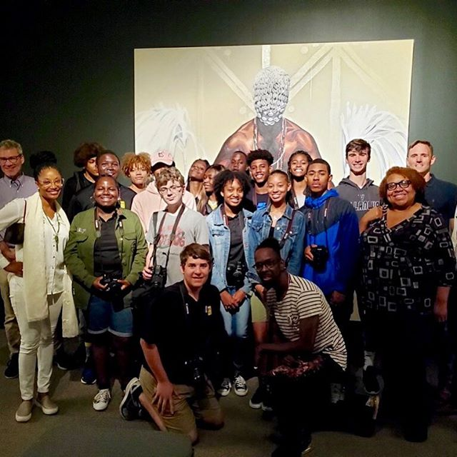 """Extraordinary guided tour and Q&A session with Dr. Fahamu Pecou at his """"Do or Die"""" exhibit last week. This is how we roll....!"""