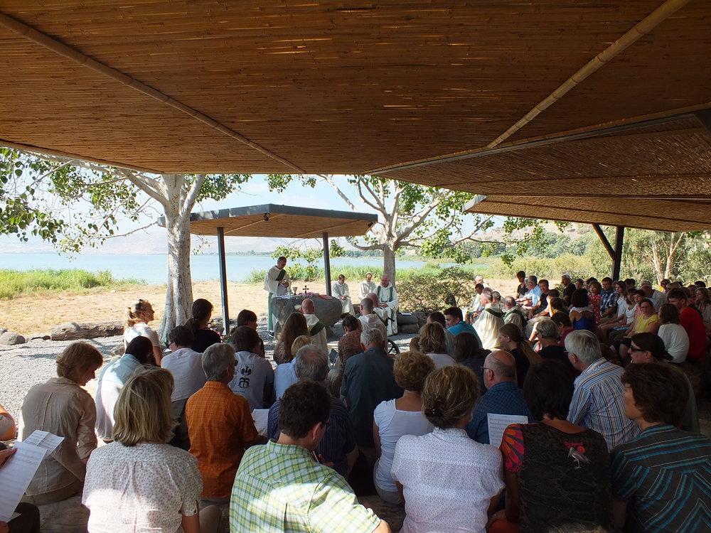 BVC Tabgha 2012 Mass at Sea of Galilee.JPG