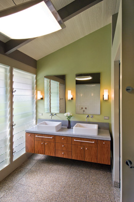 The bathrooms in this house aren't as large as in many modern Kahala homes, but the exposed ceilings manage to give each room an expansive feel. PHOTO BY: HAL LUM