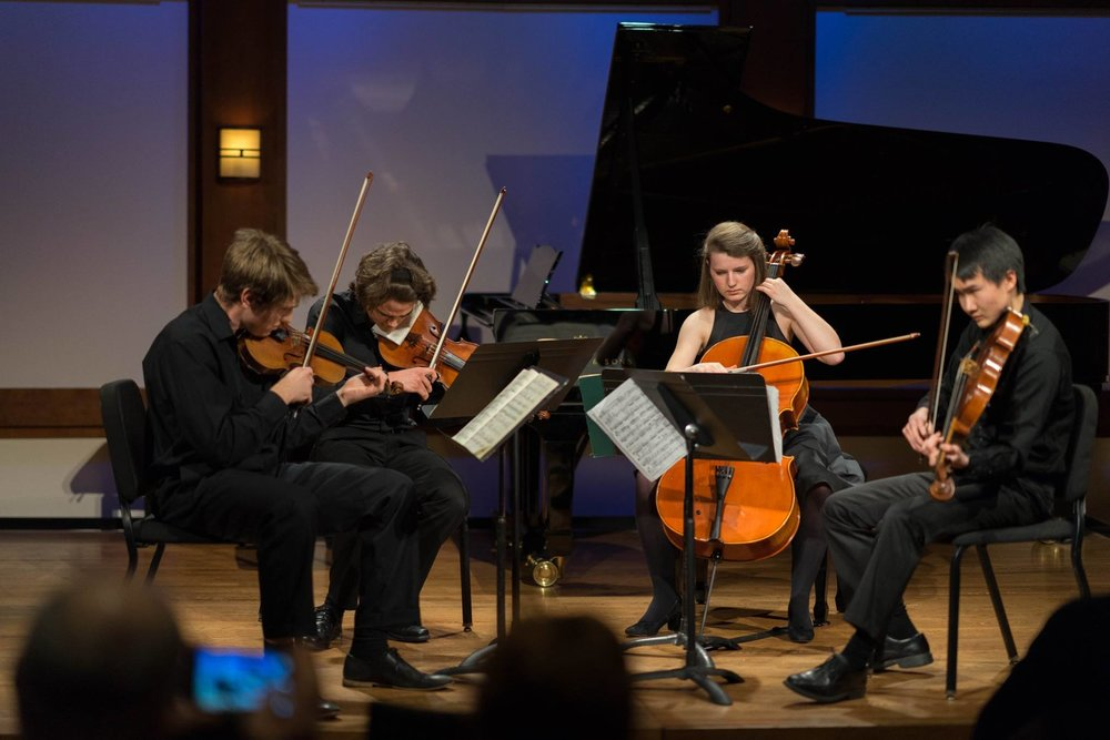 A chamber group from Williams College performing a string quartet at ICMF 2018. Pictured from left to right: Jeffrey Pearson (violin), Ben Mygatt (violin), Caroline Tally (cello), and Daniel Yu (viola)
