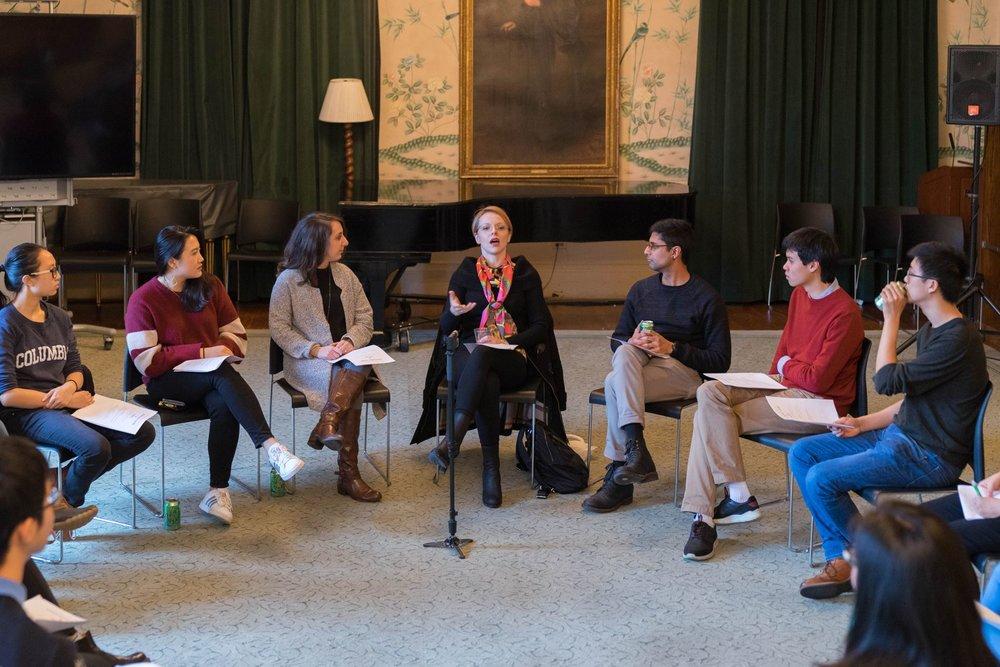 Musician Magdalena Stern-Baczewska delivering a Lightning Talk in Sulzberger Parlor, Barnard College.