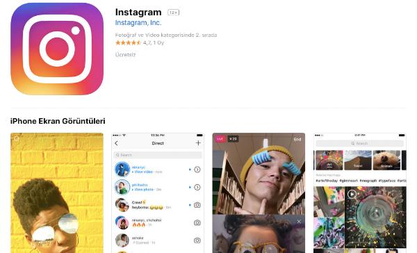 Örnek görsel tasarım: ikon ve ekran görüntüleri (Instagram)