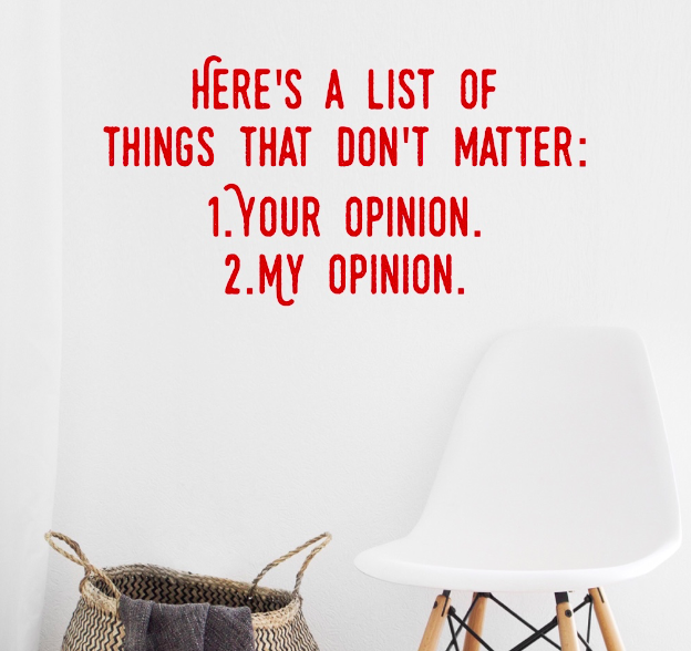 List of things that don't matter