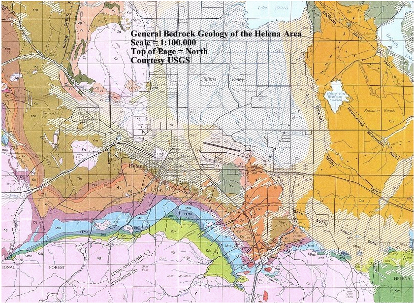 Geologic formations of the surrounding Helena area.