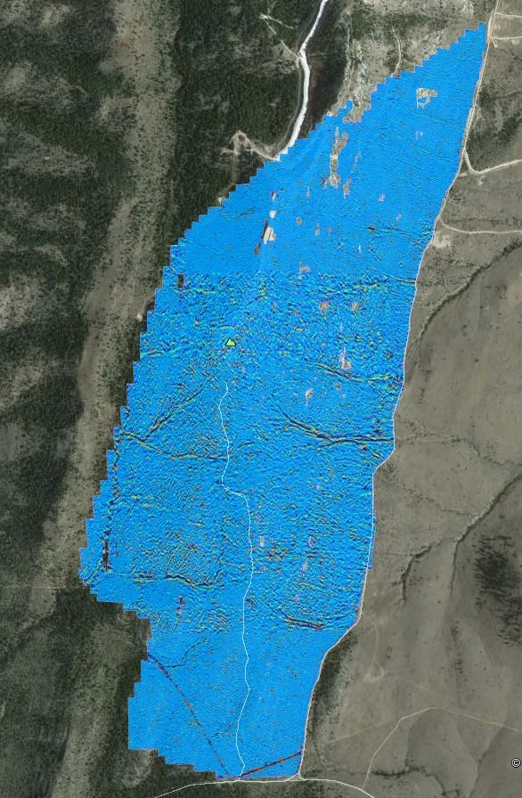 Composite map of 600 acre magnetic survey showing ferrous geology (red bands) relative to background magnetic field shown in blue.