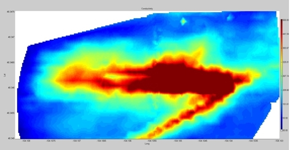 Map of conductive saline water shown in red from pipeline leak in northeastern Montana surveyed with the EM-31.