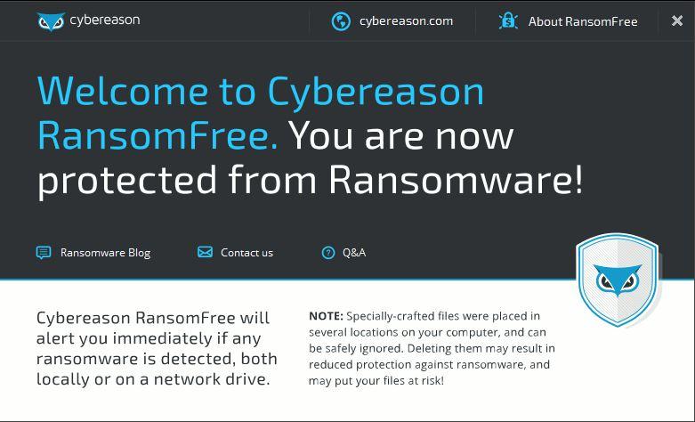 Beginscherm van de gratis tool ransomfree.