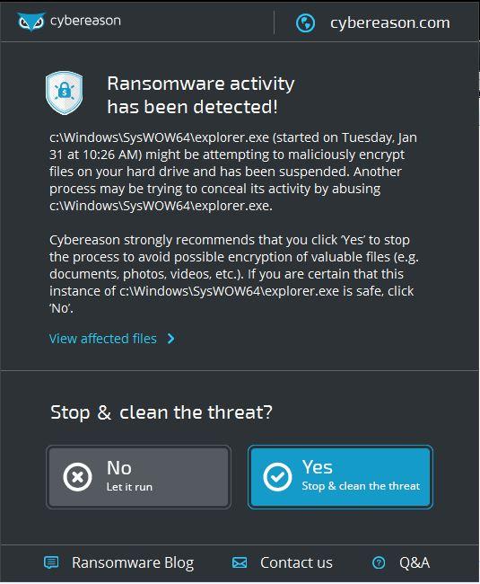 Pop-up bij detectie van ransomware.