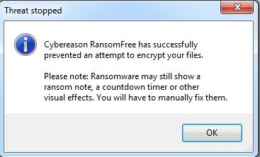 Pop-up wanneer de ransomware geëlimineerd is.
