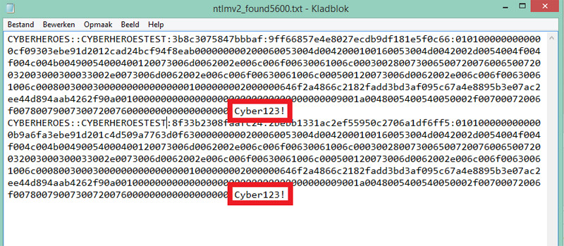 Het wachtwoord in tekstformaat.