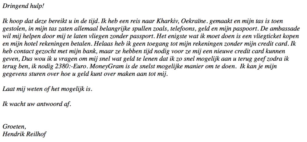 Voorbeeld van de phishing e-mail waarin om hulp wordt gevraagd