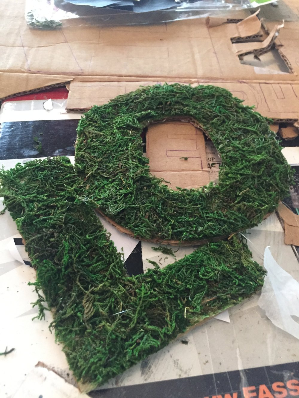 These are my work-in-progress moss letters. If nothing else, I had a fun time playing with the moss.