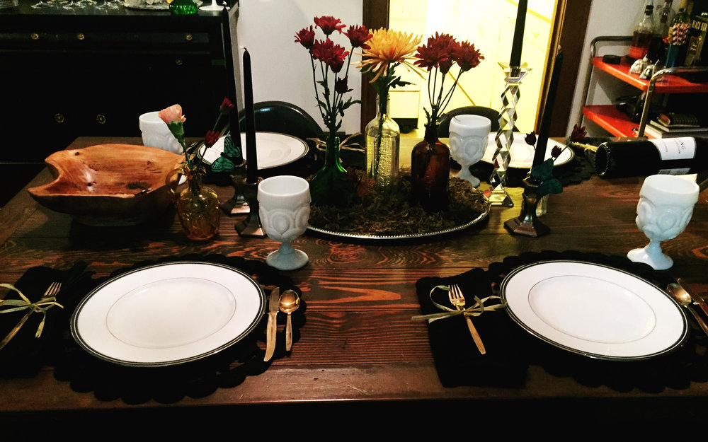 Thanksgiving table at my house with a moss centerpiece. I basically covered a silver platter & 4 Ways to Create an Unexpectedly Beautiful Tablescape \u2014 the Vintage ...