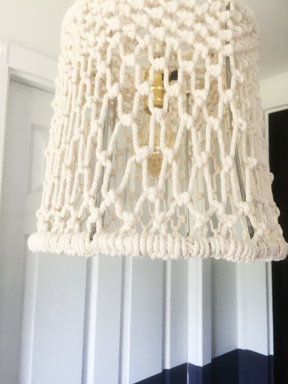 Upcycled Macrame Pendant Light