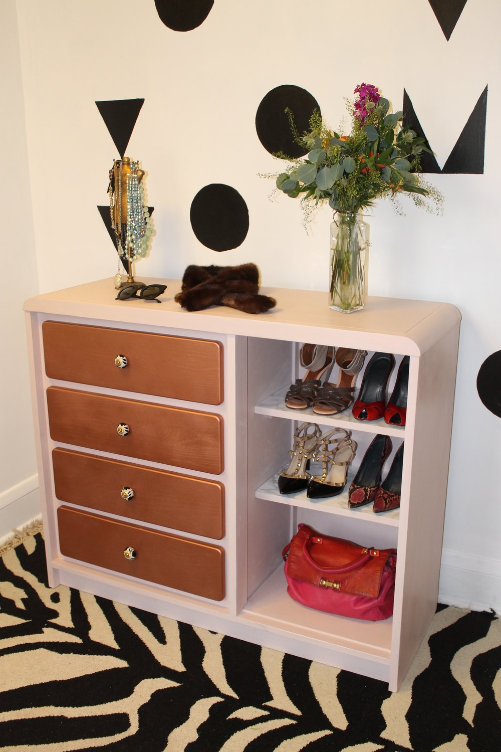 Shoe Collector Curio Cabinet and Upcycled Wood Dresser