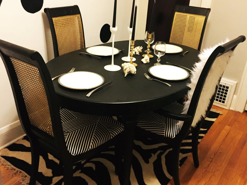 Upcycled Black, White & Gold Table and Chairs Set