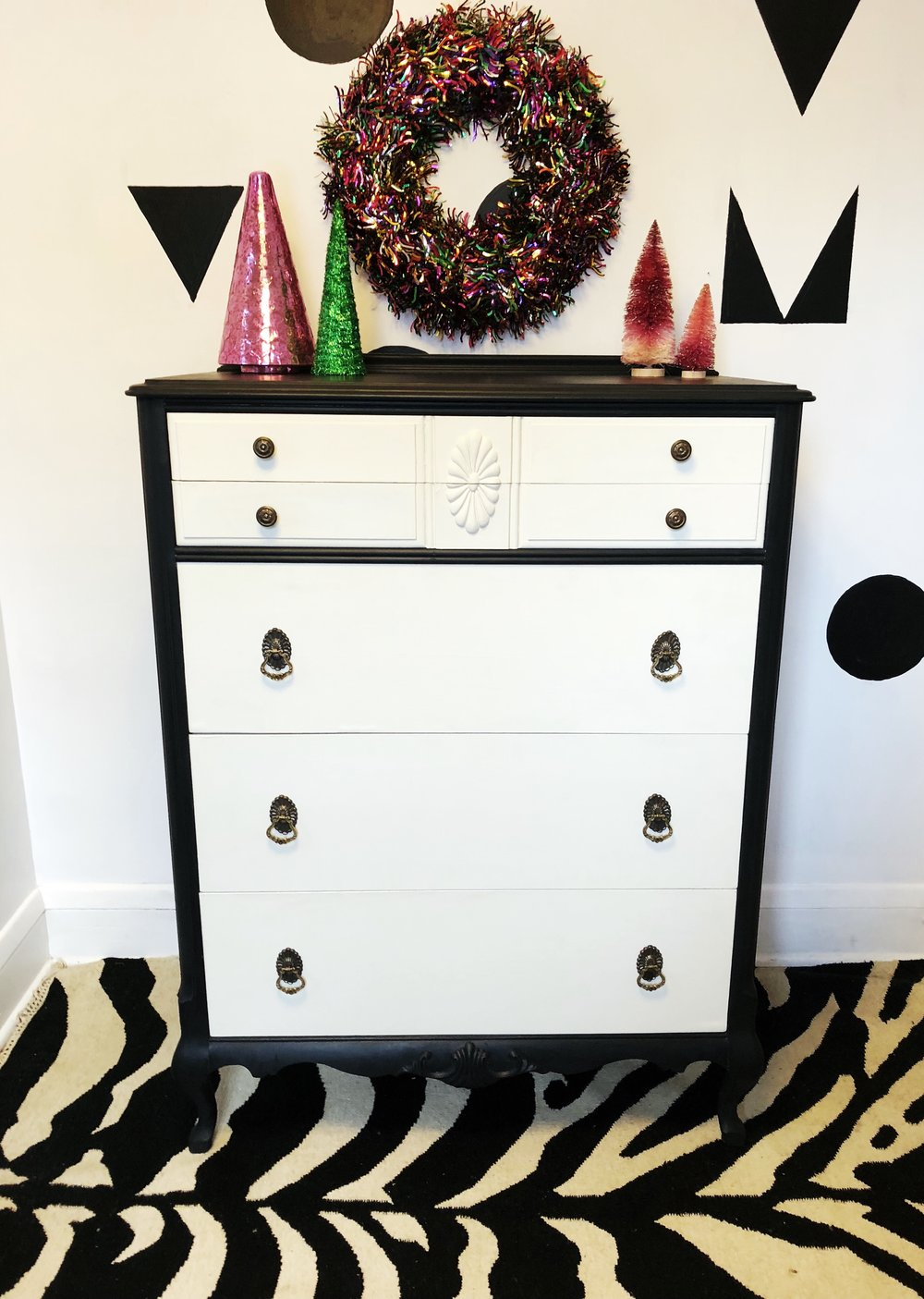 Black and White Mod Maple Dresser  - $185