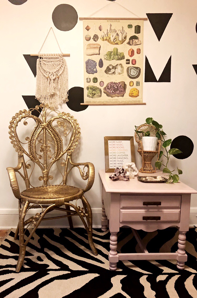 Gold Wicker Vintage Boho Throne