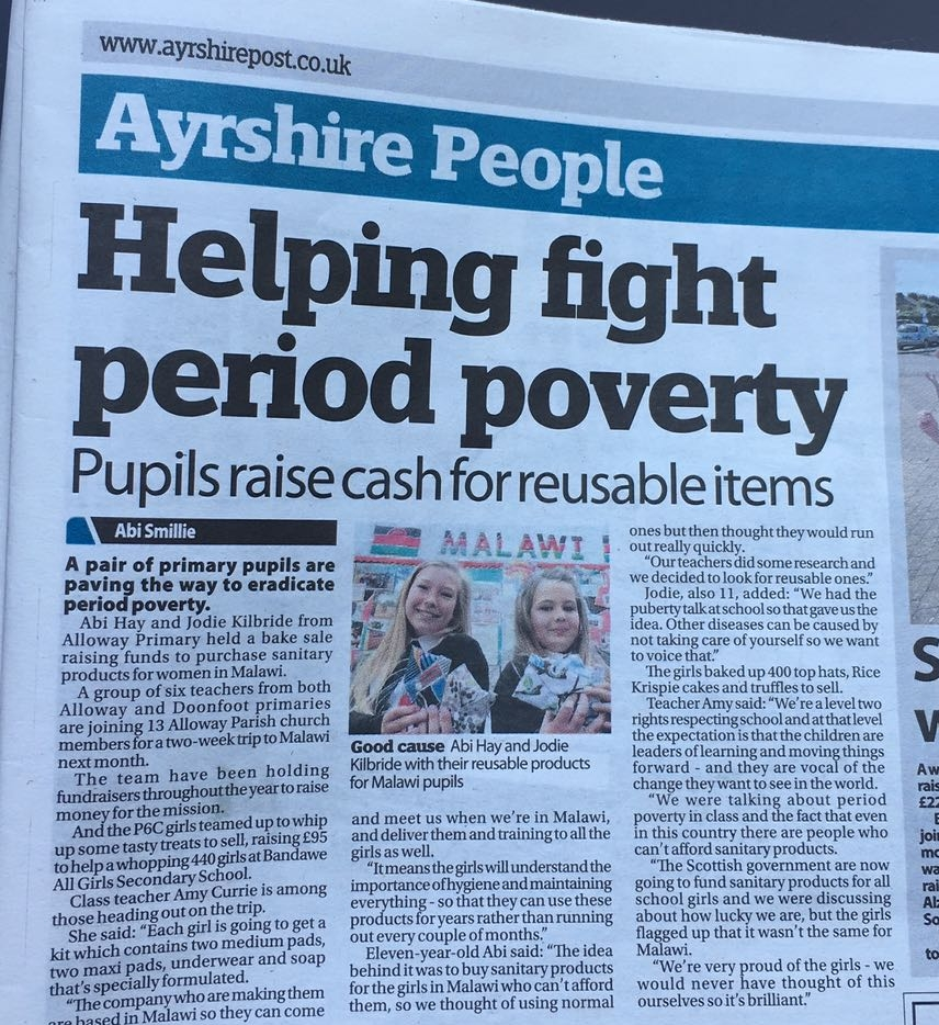 Ayrshire People article Supreme Sanitary Pads