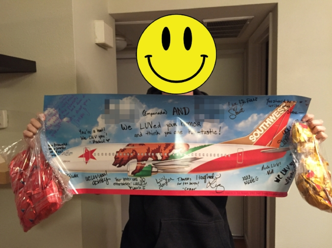 That's a glistening Southwest Airlines poster rife with signatures, plus a metric shit-ton of peanuts and pretzels.
