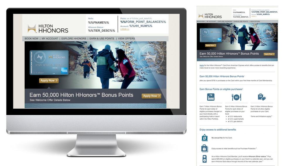 AMEX Hilton HHonors Graphic Design / HTML / CSS /  Testing & QA