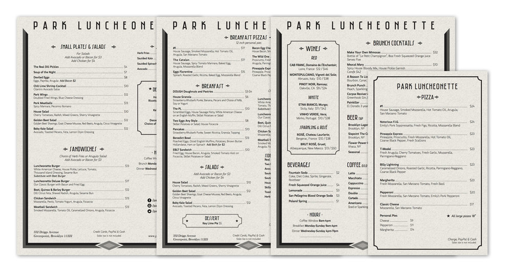 Park Luncheonette Menus