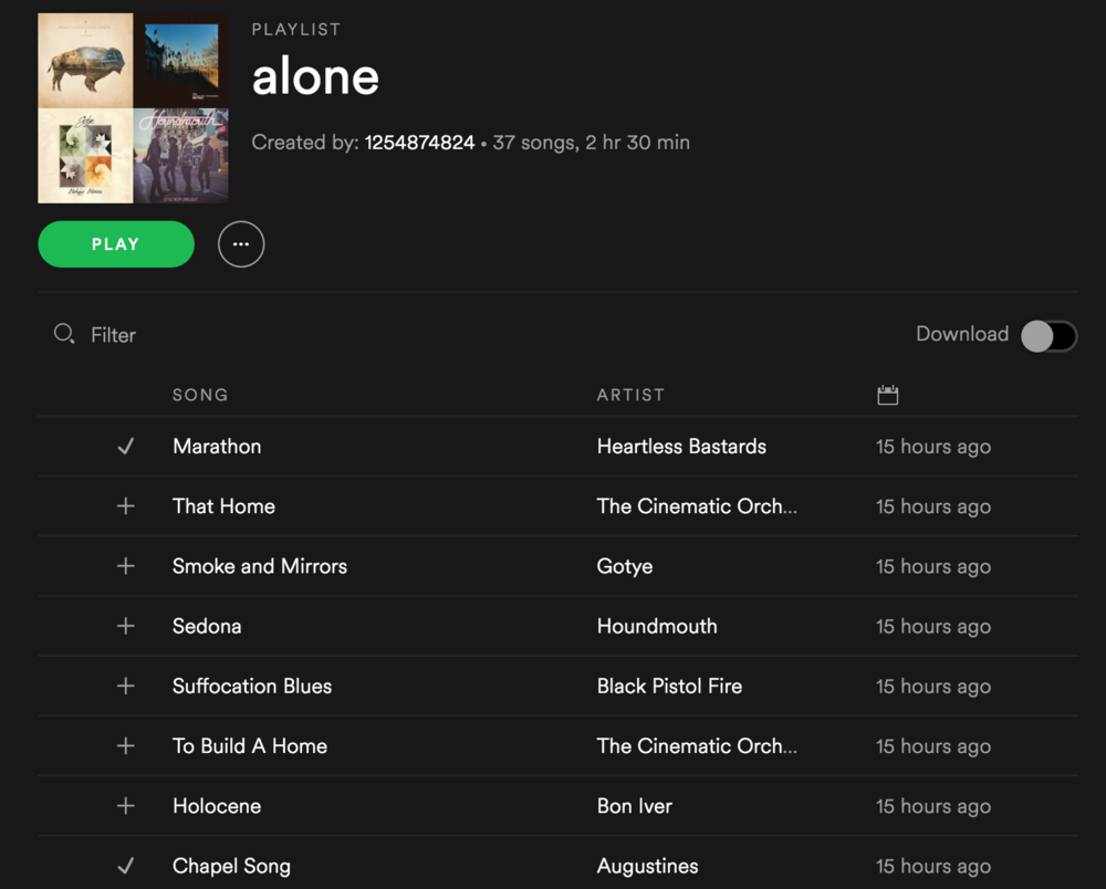 My new playlist on Spotify that is getting me through the days.