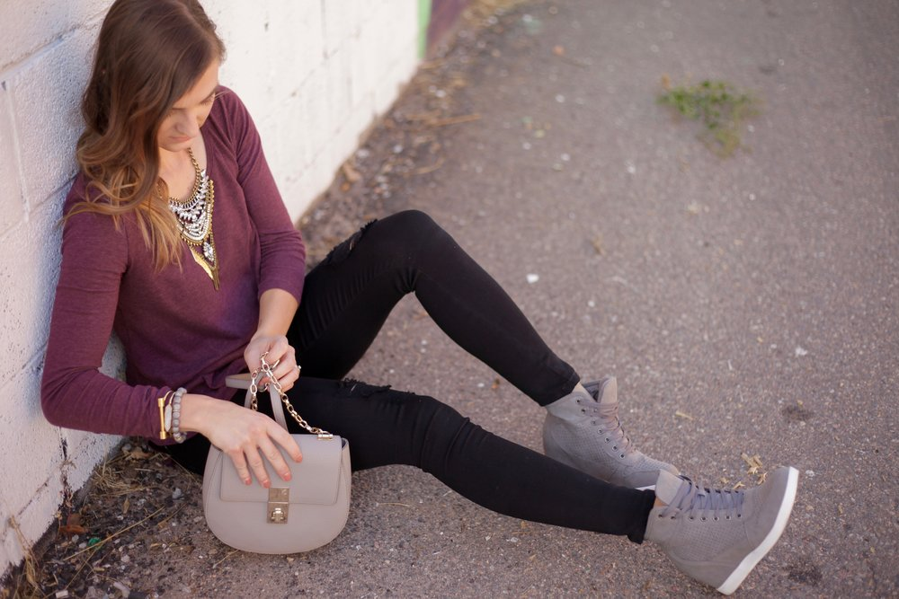 Statement Necklace similar, HERE , HERE and HERE // Wedge sneakers similar, and HERE // Bag similar // Black Denim, similar HERE and HERE // BP Top // Crystal Cuff // Bar Bracelet // Geode Bracelet