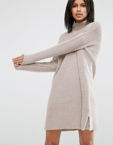 ASOS Swing Dress Ribbed Knit With Pocket
