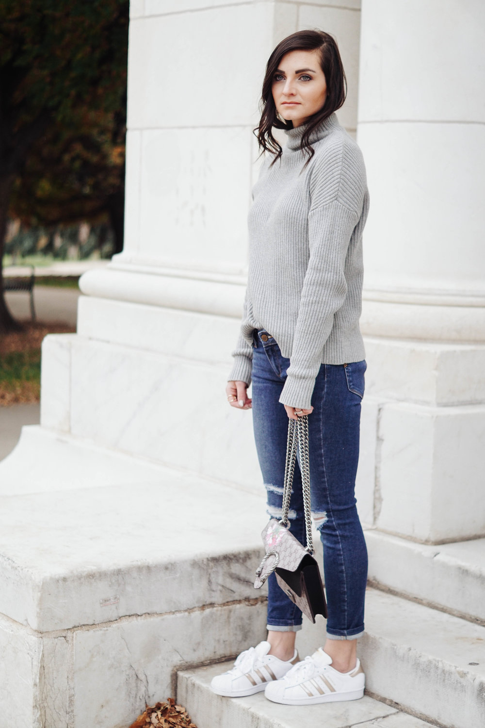 Mock Neck Sweater  //  Paige Denim , similar  HERE  //  Sneakers , similar  HERE  //  Bag