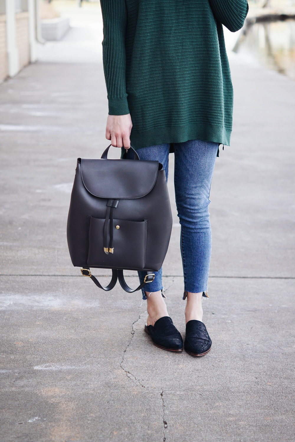 Mules , similar  HERE ,  HERE,  and  HERE , love  THESE   //  Raw Hem Denim  // Sweater  similar  and  HERE  // Backpack  similar  and  HERE