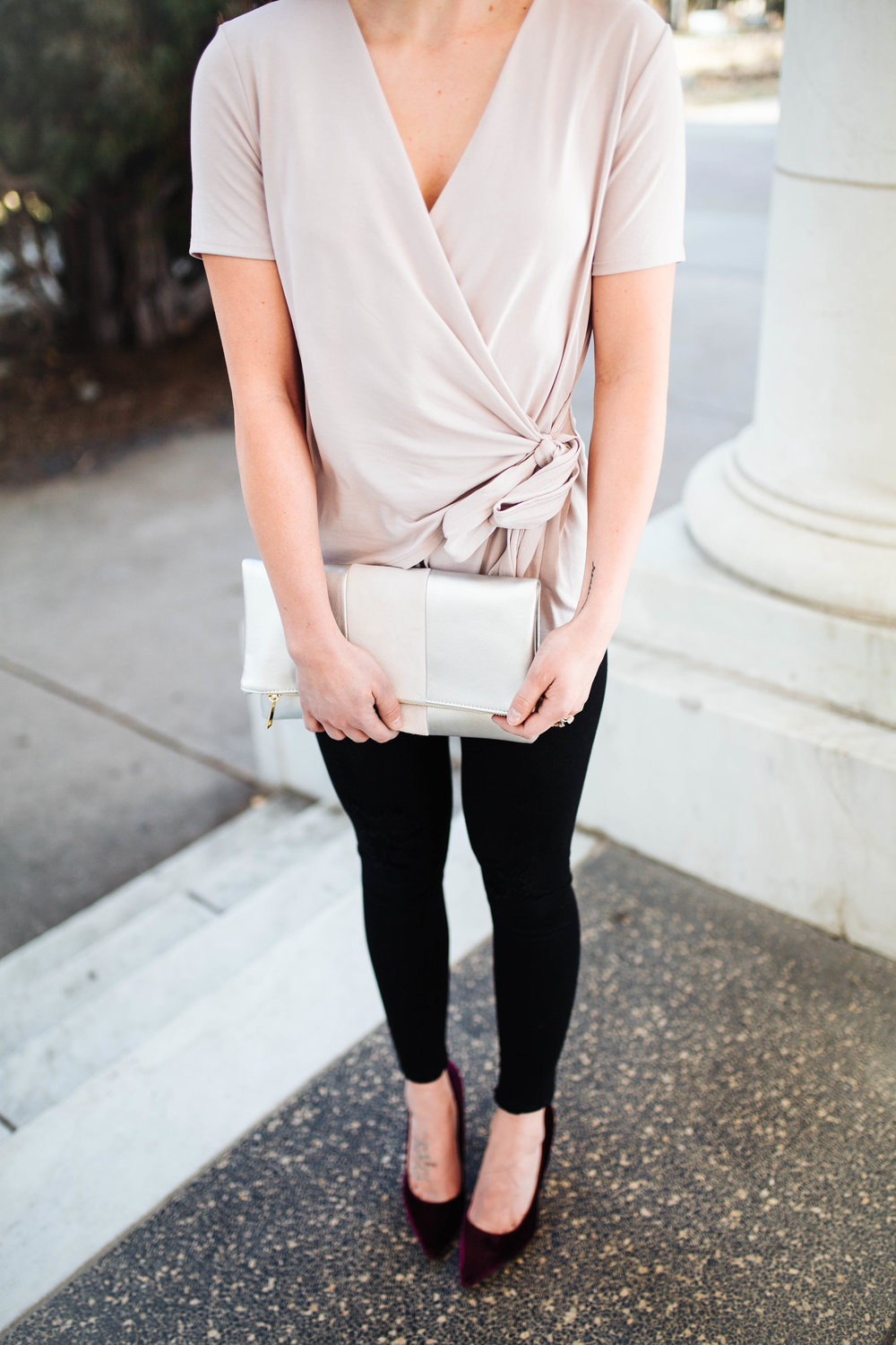 """<img src="""" valentines-day-look.jpg"""" alt = """"bp-wrap-blouse-james-jeans-twiggy-bp-tonal-stripe-foldover-silver-clutch-valentines-day-outfit"""">"""