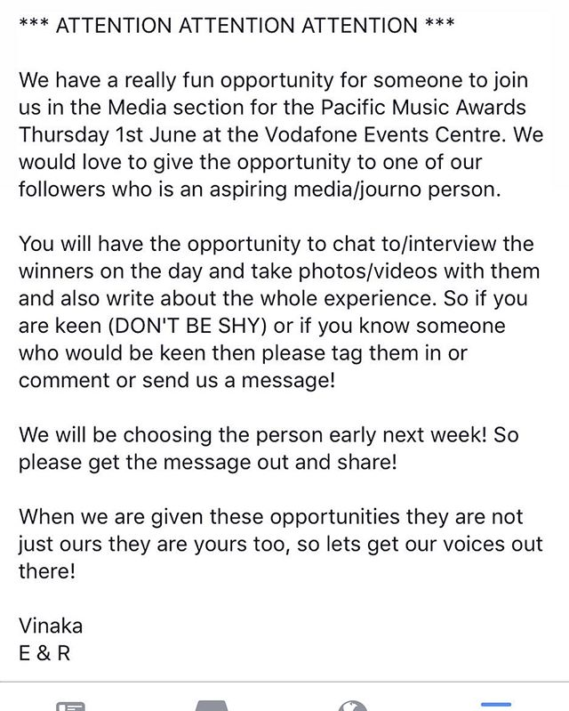 Attention any aspiring journo/media peeps ... were going to the Pacific Music Awards and we want to take someone with us who would like the experience interviewing chatting to and writing about the winners and the experience ... Msg us if you think you could do it and we will choose someone early next week 👌🏾💫 #TheNativeCollectiveNZ #ForOurPeople #Pasifika #ForUs