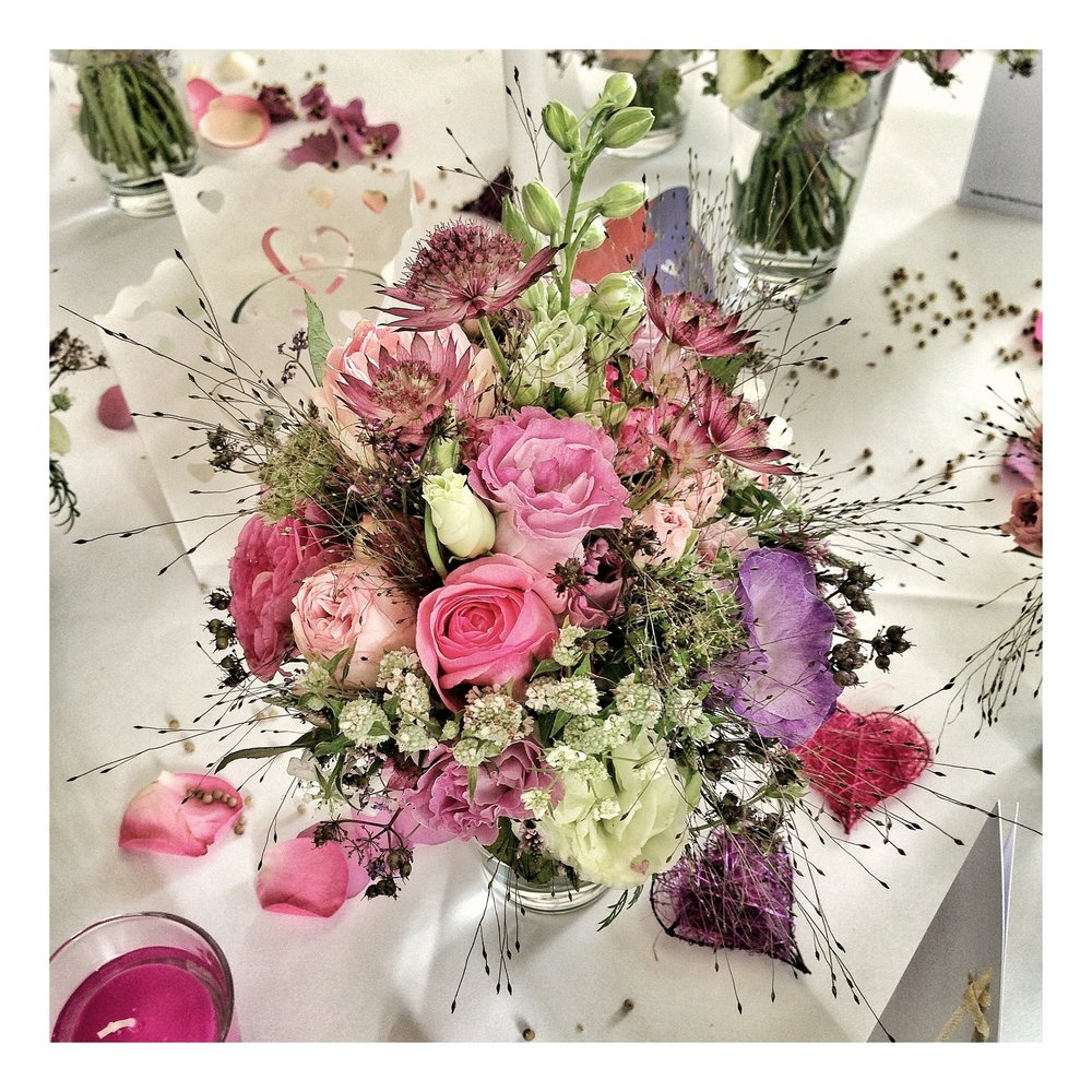 Whimsical Pink, Purple & White Floral Arrangement Centerpiece