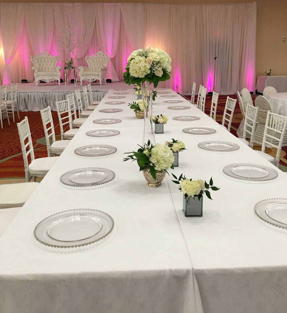 Modern & Chic White & Pink Wedding Reception Decor