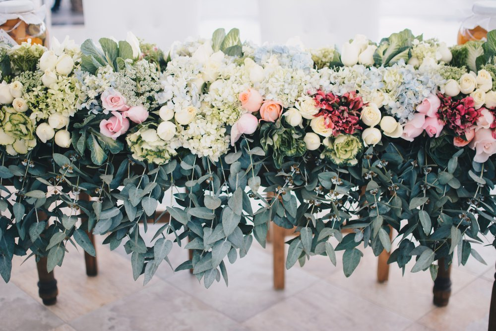 Special Event Flower centerpiece on wood stand with euctalyptus various roses hydrangea and greenery.jpg