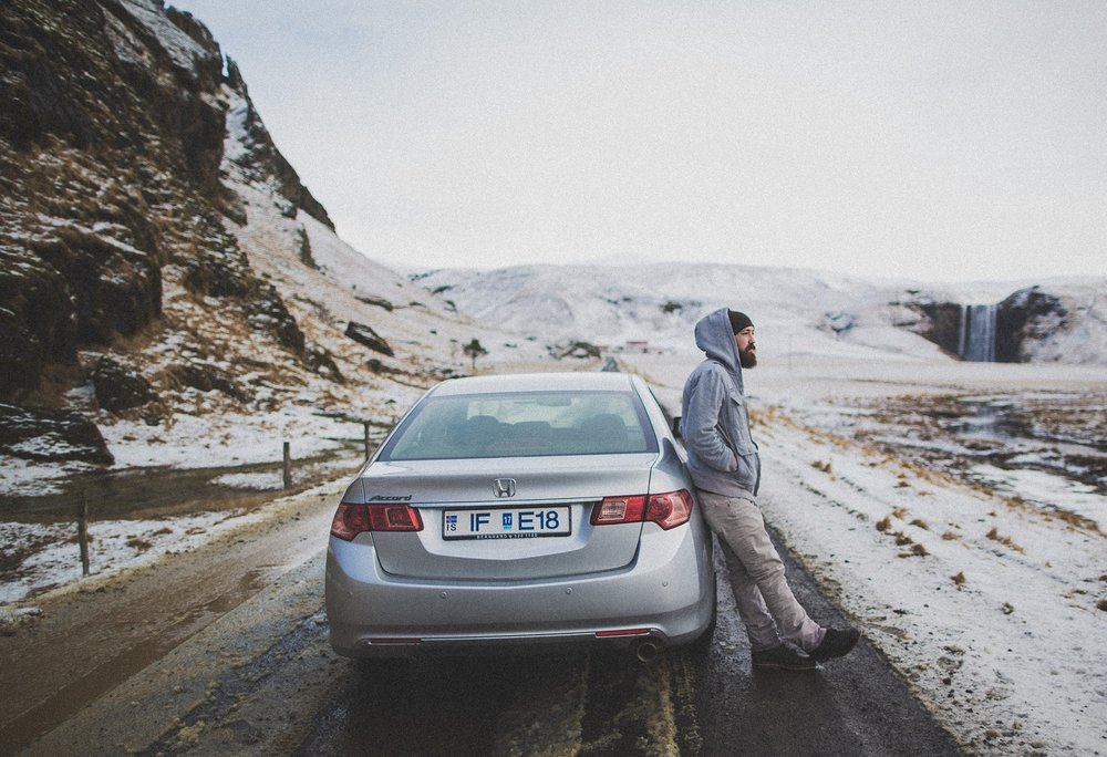 Jonathan Lipking in his rental car in Iceland. Photo by John Stephens 2014.