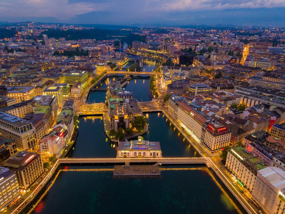 Geneva, Switzerland at Twilight