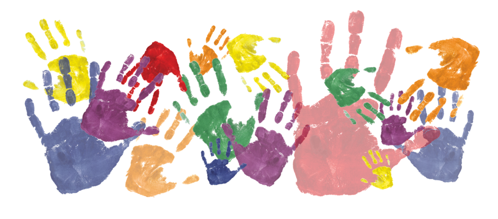 Handprints in Rainbow Colors