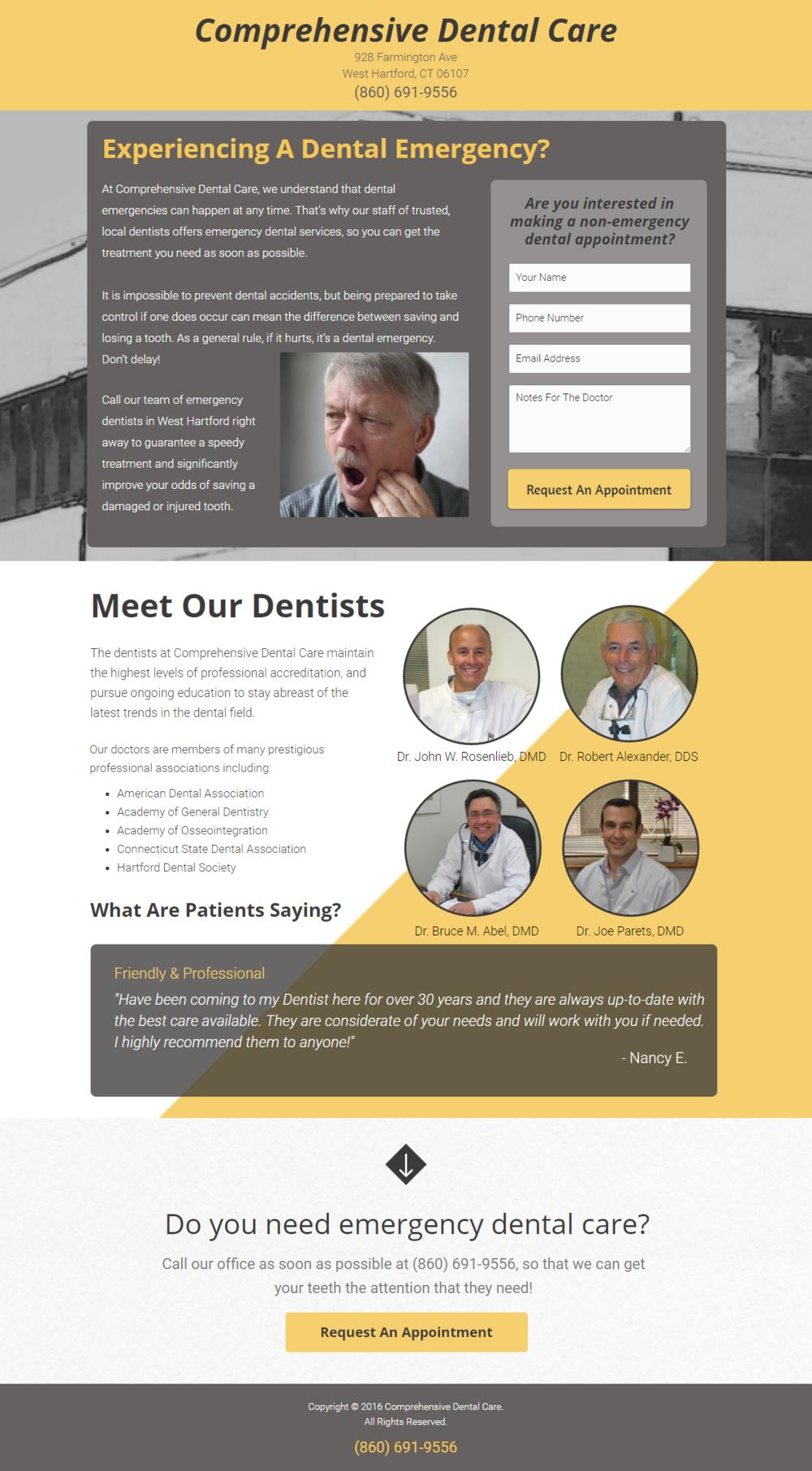 West Hartford Dentist Landing Page